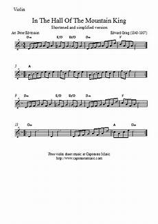 free easy violin sheet music in the hall of the mountain king