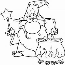 wizard waving with magic wand and preparing a potion