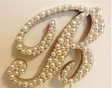 script pearl monogram cake topper with by llbridaldesigns