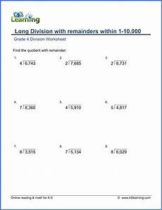 division worksheets grade 5 without remainders 6604 grade 4 math worksheet dividing 4 by 1 digit numbers with remainder k5 learning
