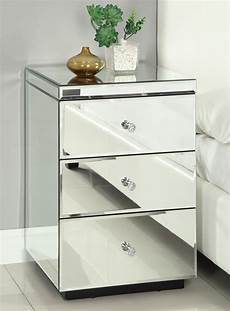 mirrored bedside table chest nightstand
