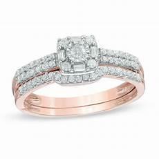 1 3 ct t w diamond frame bridal in 10k rose gold