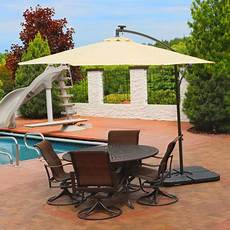 sunnydaze 10 foot outdoor steel offset solar led patio umbrella with cantilever crank and