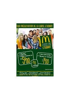 carte étudiant mcdo bienvenue dans votre restaurant mcdonald s canet en roussillon