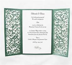 What To Put Inside Wedding Invitations green gatefold lasercut invitation invitations