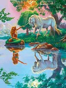 Ausmalbilder Meerjungfrau Mit Einhorn Einhorn Und Meerjungfrau Am Waldsee Jim Warren Bild