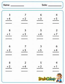 single digit addition math worksheet addition brainchimp