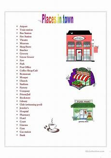 places around town worksheets 16029 places in town worksheet free esl printable worksheets made by teachers