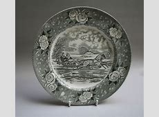 Black & White Adams Pottery Dinner Plate 'the Road Winter