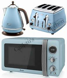 blue microwave kettle and toaster set delonghi icona and
