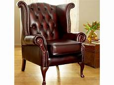 scroll wing chesterfield leather armchair wing chairs