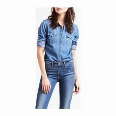 levi s ultimate western chemise en jean bleu ciel