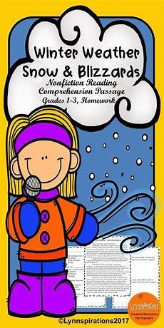 winter weather worksheets grade 14713 winter weather snow and blizzards reading comprehension activity in 2020 reading