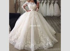 Elegant Long Sleeve Wedding Dresses 2017 White Puffy Tulle