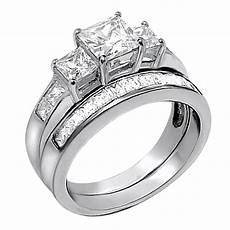 2 pcs princess cut 925 sterling silver wedding