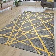 teppich gelb grau tappeto soggiorno moderno a righe pelo corto astratto