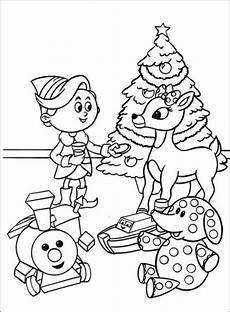 santa claus and the nose rudolph reindeer coloring pages