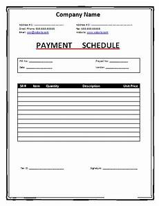payment schedule template free word templates