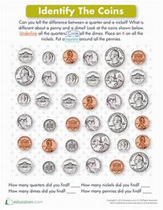money identification worksheets for kindergarten 2195 identifying coins worksheet education