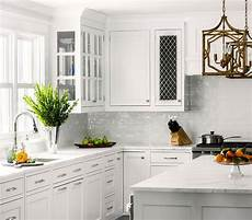 White Kitchen Tile Backsplash Ideas White Kitchen With White Glazed Subway Backsplash Tiles