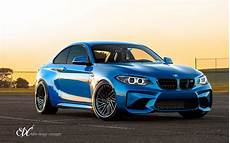 blue bmw m2 gets new wheels