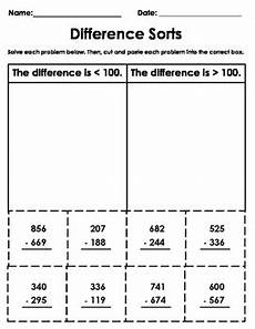 3 digit subtraction cut and paste worksheet by the quot spot