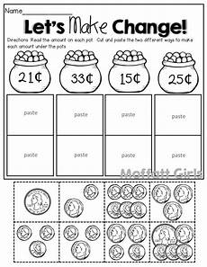 money worksheets how many ways to show an amount count the coins cut and paste to make change 2 different ways 1st grade activities money