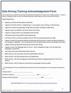 safe driving training acknowledgement form download printable pdf templateroller