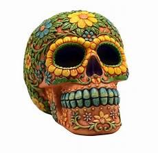 orange day of the dead sugar skull coin bank mexican dia