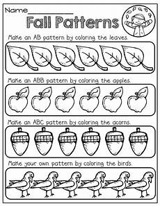 patterns worksheets for nursery 181 color to make a fall pattern fall math fall kindergarten math patterns