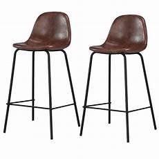 Chaise De Bar Vintage Simili Cuir Marron Lot De 2 Koya