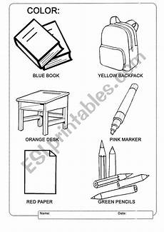 colors and school objects worksheets 12788 colors and school supplies esl worksheet by ddaponte