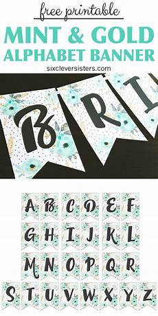 free printable alphabet banner mint gold six clever