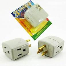 2 pcs 3 way triple outlet power adapter 3 prong ul grounded outlet wall tap new ebay