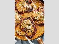 Garlic Pork Chops in Creamy Mushroom Sauce   code red
