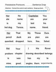 possessive pronouns sentence drop worksheet for 3rd
