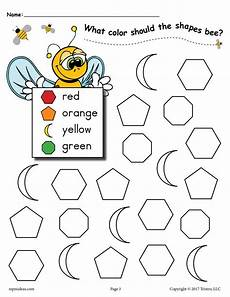 6 free bee themed shapes coloring pages supplyme