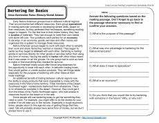 bartering for basics classroom reading comprehension worksheets reading comprehension