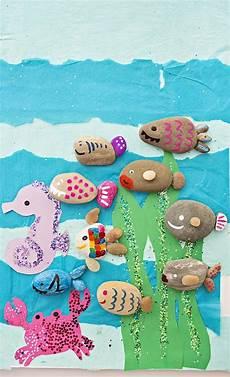 Fische Basteln Mit Kindern Rock Fish Craft