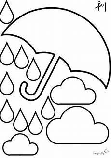 ausmalbild quot tropfen wolken regenschirm quot zum ausschneiden