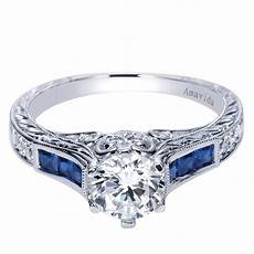 18k white gold carved sapphire engagement ring wedding day
