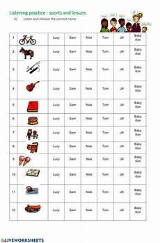 leisure activities listening interactive worksheet