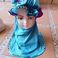Jilbab Anak Model Topi Voal Motif