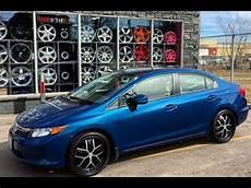 2013 blue honda civic riding on custom 18 inch rims