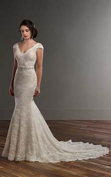 vintage lace wedding dress with cap sleeves martina liana