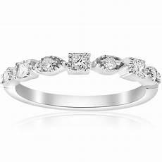 1 5ct princess cut diamond stackable vintage wedding band 14k white gold ring ebay