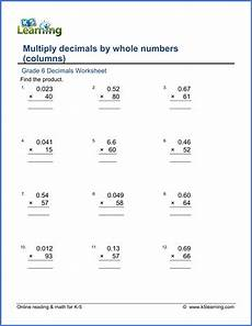 decimals word problems worksheets grade 6 grade 6 multiplication of decimals worksheets free printable k5 learning
