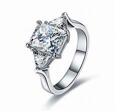 3 carat pure 14k gold three stones smart simulate diamond wedding ring for birthday gift