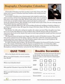 christopher columbus biography worksheet education com