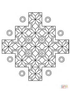 indian geometric pattern coloring page free printable